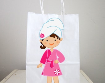 Spa Goody Bags, Spa Favor Bags, Spa Party Bags, Spa Birthday Party, Spa Favors, Pink Robe White Head Wrap (121217351P)