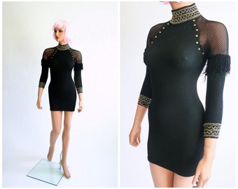 90s Body Con Bandage Tight Fit Party Dress Sheer Fish Net Fringe Studded Iconic 80s Punk 1980s Club Kid 1990s Stretch Mini Dress Extra Small