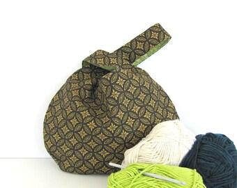 Japanese Knot bag, Socks Project bag knitting, crochet bag, Knitting bag, Mother's Day Gift for Knitter