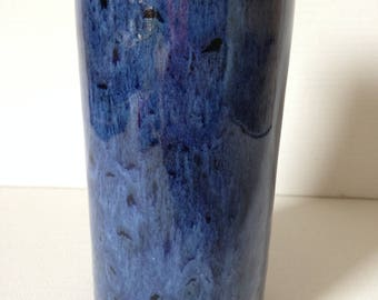 Studio Pottery Vase, Hand Thrown Pottery Vase, Small Pottery Vase, Blue Pottery Vase, Cylinder Vase, Cornish Pottery, Made in Cornwall, Vase