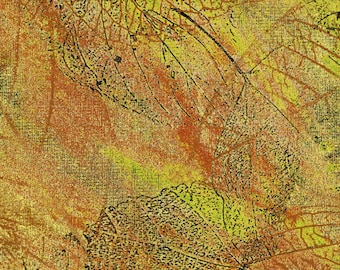 A green/yellow leaf design with black accents  by Ginny Beyer fabric from Delhi collection.