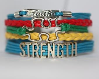 Autism Awareness Support Bracelet, Autism Bracelet, Aspergers Bracelet, Autism Puzzle Piece Bracelet, Autism Awareness, ilovecheesygrits