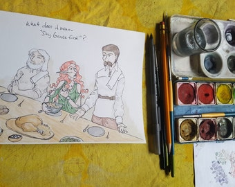 Thanksgiving Dinner - Original Art Watercolor Sketch of Comic Illustration