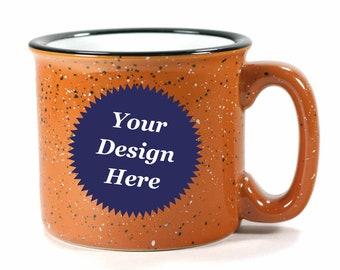 CUSTOM Rust Camp Mug - orange ceramic speckled coffee cup