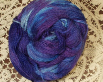 Hand Dyed Wool Yarn ,Sport Weight, Blue Colors