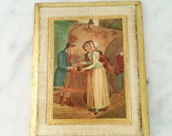 Vintage Florentine Decor , Florentine Wall Plaque, Gold White Florentine , Italian Decor