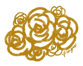 Floral No 4 8x8 Digital Print, Gold Flower Art