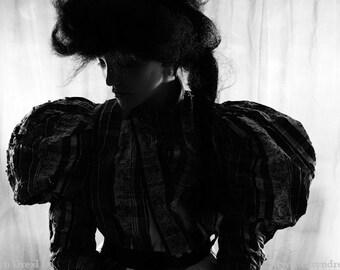 Puffed Up 2 - FREE SHIPPING Fine Art Photo Print Black & White Portrait Silhouette Dark Image Victorian Puff Sleeves Gray Hair Vintage Decor