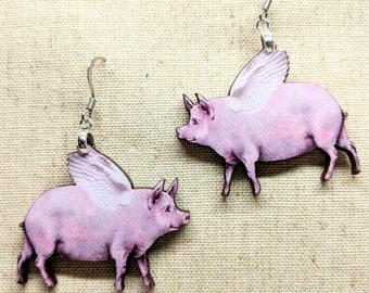 Flying Pig Earrings / Laser Cut Wood Earrings / Animal Earrings / When Pigs Fly / Pun Earrings / Pig Humor / Nickel Free / Animal Jewelry