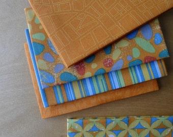 Barcelona FQ Saffron Orange Bundle - Zen Chic Moda Brigitte Heitland - Fat Quarters (5) Pieces - Modern Quilting Crafting Cotton Fabric