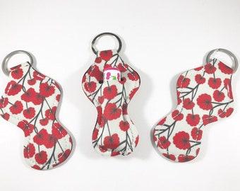 Chapstick Holders, Chapstick Keychain, Chapstick Holder Red Flowers