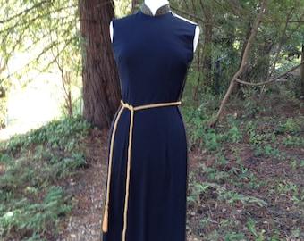 Vintage 1970's Alfred Shaheen Black Dress * Cheongsam * Maxi * Size Small to Medium