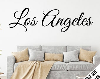 Los Angeles Wall Sticker, Customizable Vinyl Decal, Car Window Decal, California, L.A., Hollywood, SoCal, City of Angles - Cursive