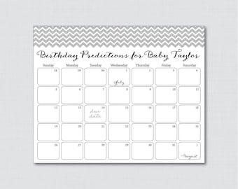 Silver Glitter Chevron Baby Shower Birthday Predictions - Printable Baby Shower Due Date Calendar & Birthday Guess - Silver Glitter Chevron