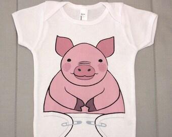 Funny Onsies - Cute Baby Onesie - Pig Baby Clothes - Piglet - Pink