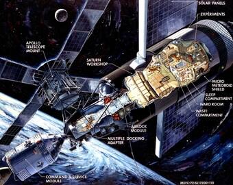 Cutaway Drawing of the Skylab Orbital Workshop - 8X10 NASA Photo (AZ068)