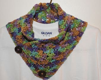 Multicolor Cowl Scarf with Buttons