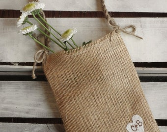 Burlap Flower Girl Bag w/ Heart and Jute Twine Handle - Choose Your Color-Personalize w/ Initals- Country/Shabby Chic/Rustic/Folk/Wedding