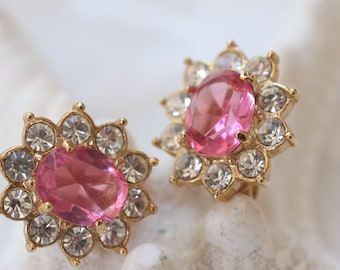 Petite Vintage Pink Rhinestone Clip On Earrings