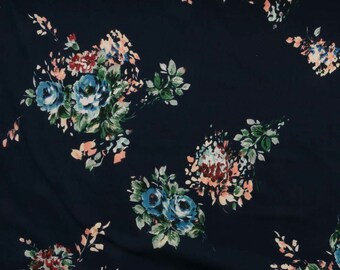 Rose Bouquet on Navy DBP Knit Fabric
