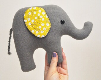 Curious Gray Plush Elephant - Yellow Floral Print Ears - READY TO SHIP