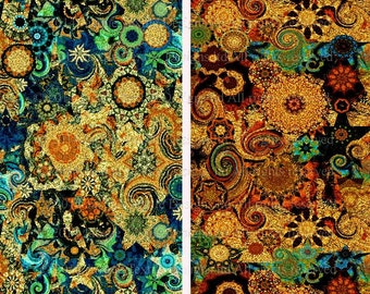 Textile Artist Made Quilting Fabric 2 Panels Fall Green Stars Sky Celestial Kaleidoscope