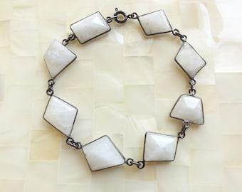 Freeform Faceted Moonstone Oxidized Silver Bezel Connector Bracelet (B1236)