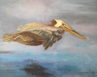 """Wildlife Painting, Flying Pelican, Bird Painting, Original Oil Painting, 16x20"""" Oil Painting, Free Shipping in US"""