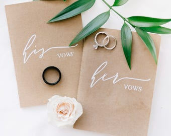 Vow book, his and hers vow books, wedding book, vow booklet