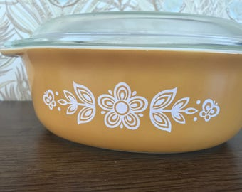 Vintage Pyrex Butterfly Gold Small Casserole Dish Refrigerator Dish Baking Dish