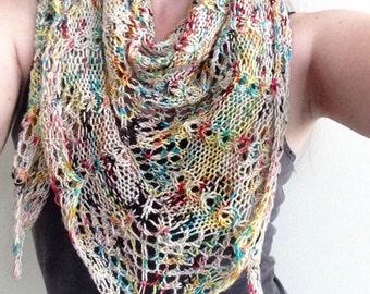 Knit colorful bohemian triangle lace shawl