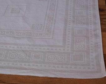 Antique French Tablecloth Irish Damask Art Deco C. 1930 Handmade Upholstery fabric