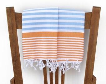 Kitchen Towel Handwoven Cotton Turkish Hand Towel Bathroom Towel Face Towel Tea Towel Guest Towel Turkish Towel Spa Blue ORANGE PESHKIR SET