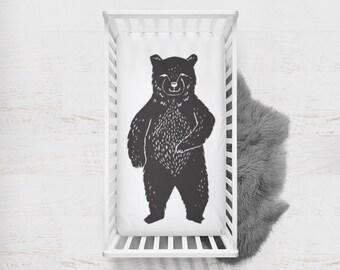 Fitted Crib Sheet Bear. Bear Crib Sheet. Bear Baby Bedding. Black Crib Sheet. Woodland Crib Sheet. Minky Crib Sheet. Bear Silhouette.