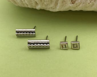 Set of Two Pair Small Sterling Silver Studs, Square and Rectangle Pattern Earrings, Artisan Handmade, Perfect Everyday Jewelry, Geometric