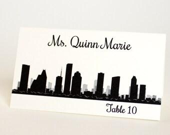 Houston Place Card Skyline Texas Custom Escort Card Seating Name Guest Card Wedding Decor