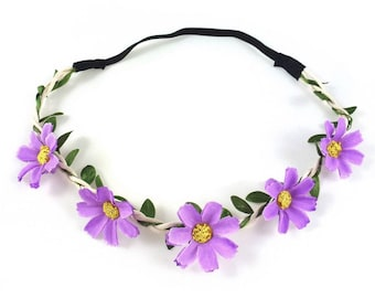 Wedding - purple flower Crown headband