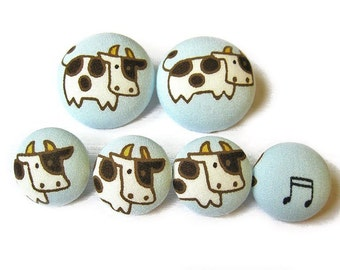 Sewing Buttons / Fabric Buttons - Cows That Sing - 6 Fabric Buttons Set