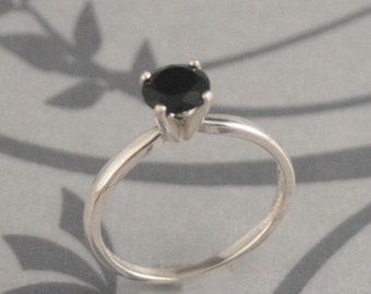 Silver Solitaire Ring~Silver Engagement Ring~Onyx Engagement Ring~Simple Engagement Ring~Fake Black Diamond Ring~Affordable Ring~Silver Ring
