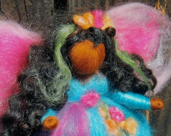 Needle felted fairy - Caribbean Blue Garden Fairy-  Needle felted wool angel Waldorf inspired by Rebecca Varon
