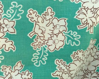 "Vintage Aqua Floral Feedsack - Antique Sewing Material in Aqua, Fabric Yardage, Large Piece of Antique Sewing + Home Decor Fabric, 46"" X 22"""