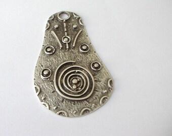 "Large Handmade Embellished Silver Unique Shape Pendant 68x40mm 2 3/4"""