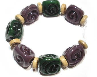 Handmade Glass SRA Lampwork Beads, Purple and Green  Wedges