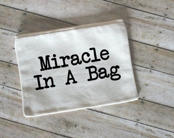 Miracle In A Bag Makeup Bag, Cosmetic Bag, Toiletry Bag, Small Makeup Bag, Cute Cotton Cosmetic Pouch, Face Bag, Gift for Her, Small Bag