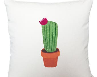 Cushions/ cushion cover/ scatter cushions/ throw cushions/ white cushion/ pink flower cactus cushion cover