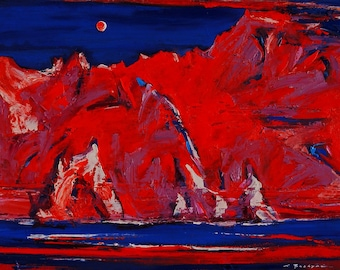 Original oil painting Red sunset on Kara-Dagh  Summer mood Sea Contemporary art Water painting Landscape Local painting Mountains Rocks