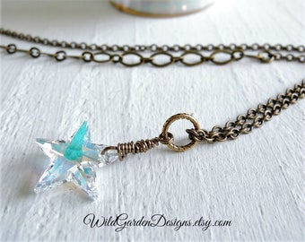 Crystal Star Pendant Necklace Wish Upon A Star Boho Wire Wrapped Aurora Borealis Crystal Celestial Star Necklace Long Mixed Chain Necklace