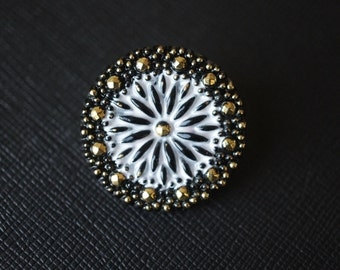 Czech Glass Button, hand painted, Black, size 12, 27mm, 1pc (BUT222/12)