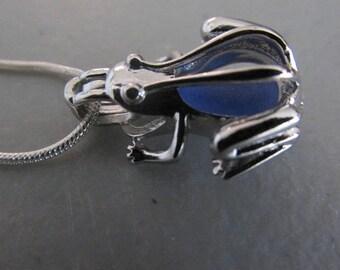 Frog Sea Glass Necklace, Frog Locket, Frog Jewelry, Beach Glass Jewelry, Frog Pendant, Blue Pendant