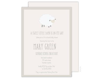 A Sweet Little Lamb Is On It's Way - Baby Shower Invitation - 5x7 Baby Shower Invitations - Lamb Baby Shower - Free Shipping